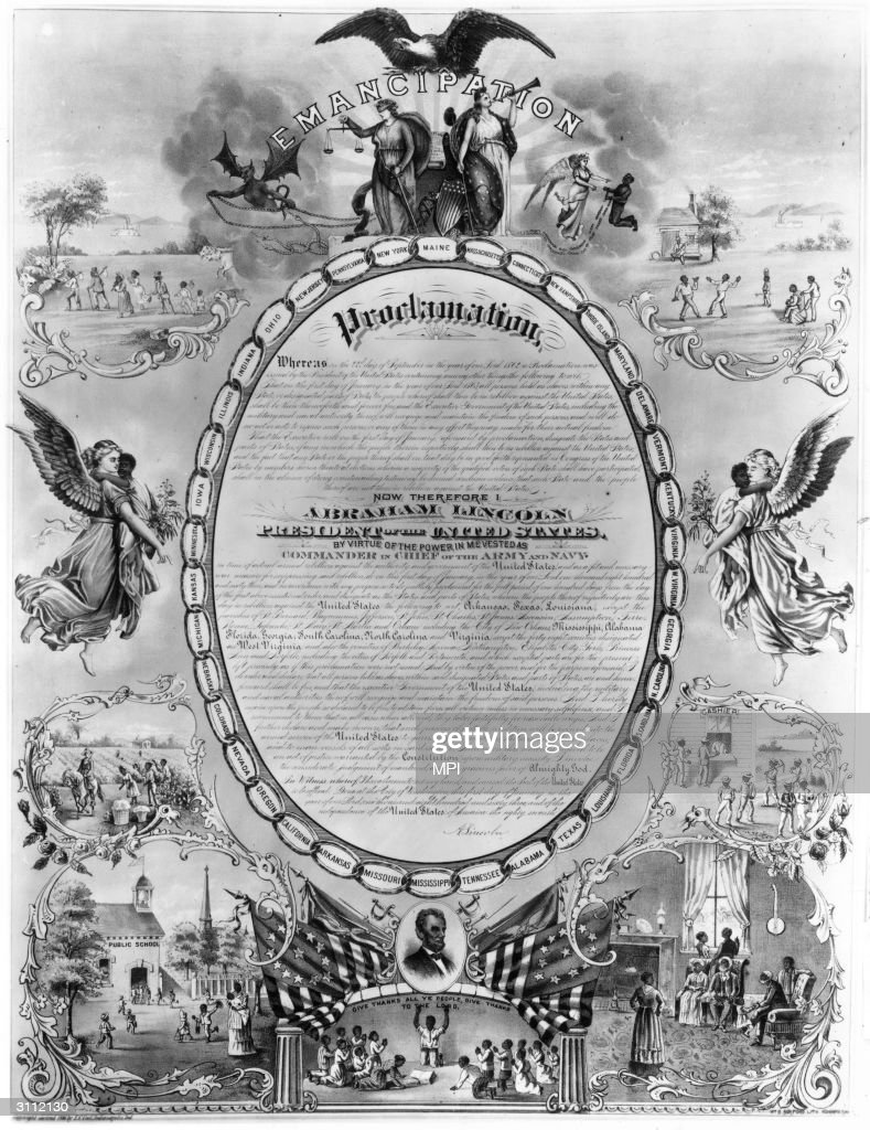 A print commemorating the Emancipation Proclamation which declared that all slaves in rebel held territory 'shall be then, thenceforward, and forever free'.