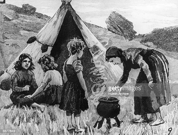 Irish tenants evicted by landlords from their smallholding and made homeless for the nonpayment of rent Original Publication Illustrated London News...