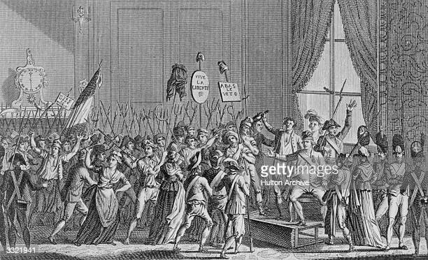 The people getting into the Chateau des Tuileries during the French Revolution. Original Artwork: Engraving by Conche Sons