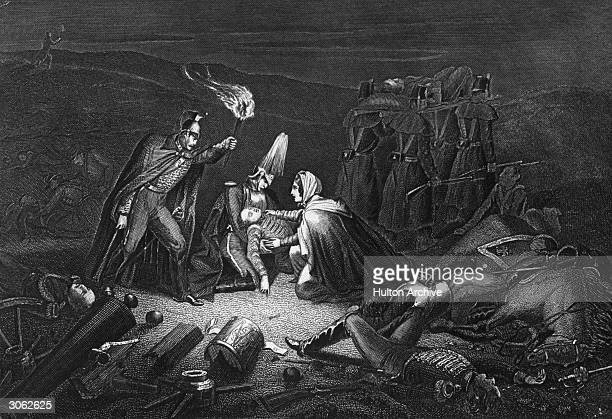 Florence Nightingale tending to the wounded on the battlefield of the Alma on the night after the battle, a major one in the Crimean War. Original...