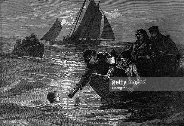 First man to swim the English Channel, Captain Matthew Webb , receiving a hot drink from a support boat during his first unsuccessful attempt....