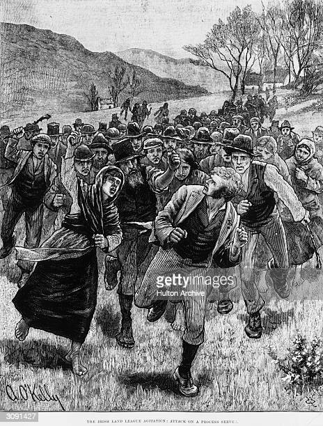 A Process Server is chased by an angry mob which is close behind him as he makes his get away over the fields Original Publication Illustrated London...