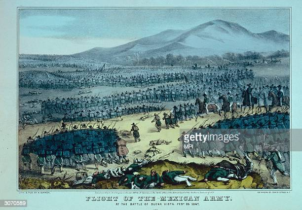 The retreat of the Mexican Army during the Mexican-American War. Original Artist: By Nathaniel Currier.