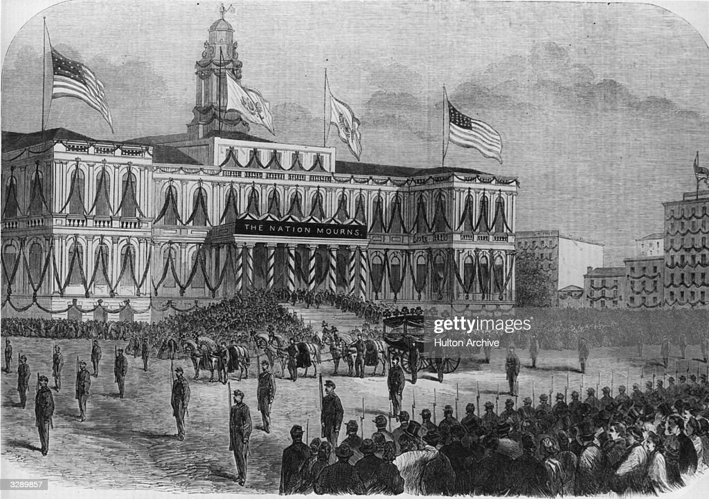 The body of Abraham Lincoln, the assassinated 16th President of the United States of America, arrives at City Hall, New York. Original Publication: Illustrated London News - Arrival Of The Body Of President LIncoln At The City Hall, New York - pub. 1865