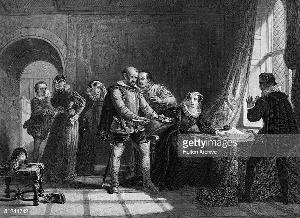 24th July 1567, Mary, Queen of Scots , being compelled to sign her abdication, at Lochleven Castle. Original Artwork: Engraving by T Brown from a...