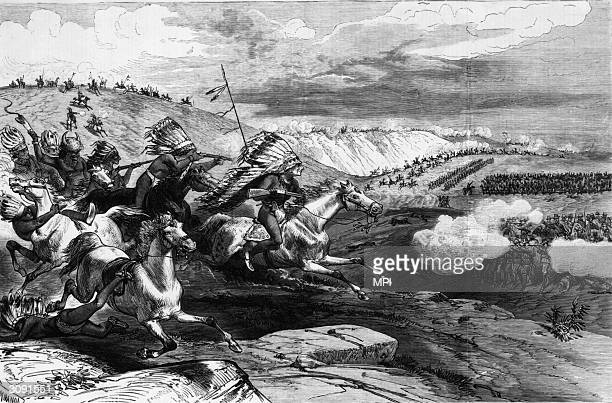 The Confederation of Sioux Warriors under Crazy Horse charging the troops of General George Crook on the Rosebud River Montana The conflict was...