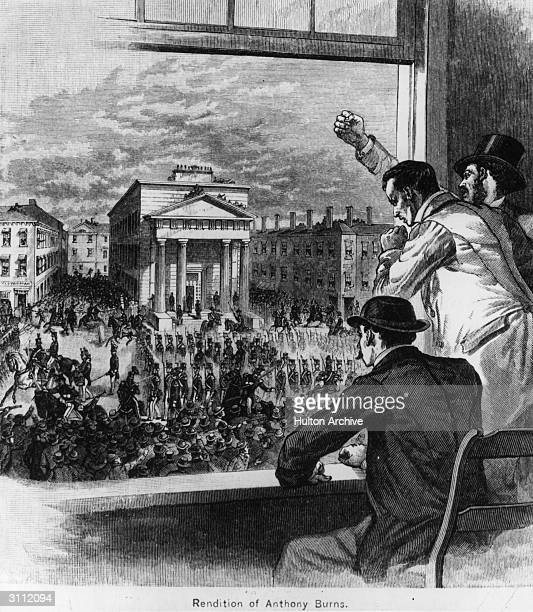Rendition of Anthony Burns who was returned to his master after fleeing being recaptured and accused of violating the 'Fugitive Slave Law' Storming...