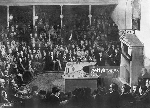 Inventor and scientist Michael Faraday lectures at the Royal Institution The Prince Consort with his sons the Prince of Wales and the Duke of...