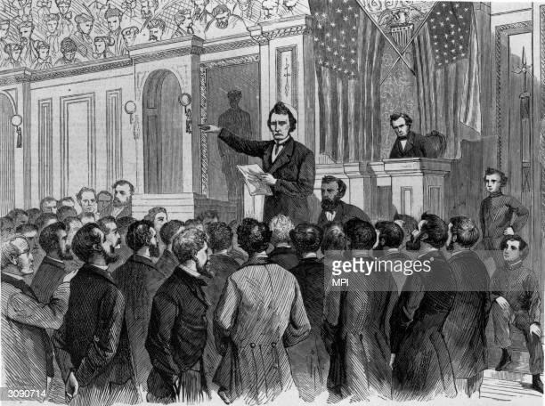Thaddeus Stevens in the House of Representatives closes the debate on the impeachment of President Johnson Original Artist By T R Davis