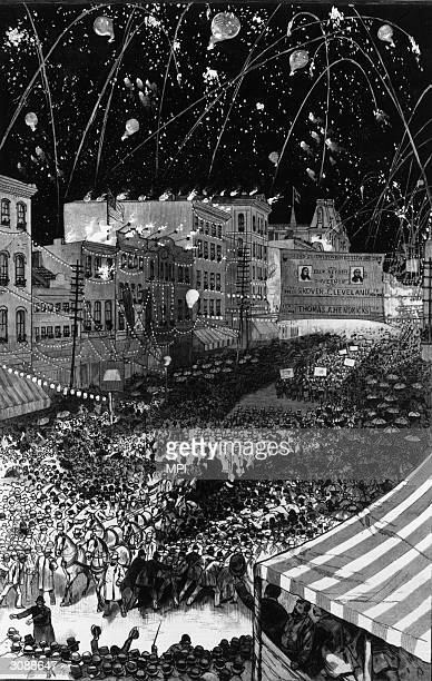 Crowd of riotous supporters in Buffalo, New York State celebrate the nomination of Grover Cleveland, Governor of Buffalo, for president of the United...