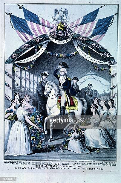 Women laying flowers at George Washington's feet as he rides over a bridge at Trenton, New Jersey on the way to his inauguration as first President...