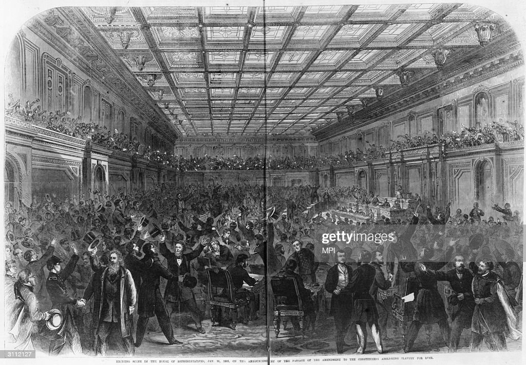 Crowds celebrating in the House of Representatives after Congress passed the thirteenth amendment, which outlawed slavery.