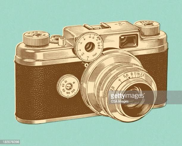 35mm camera - photographic equipment stock illustrations