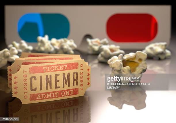 ilustraciones, imágenes clip art, dibujos animados e iconos de stock de 3d cinema, illustration - entrada de cine