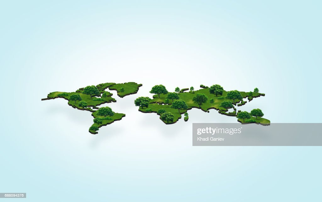 3d green world map with forest on light background stock 3d green world map with forest on light background stock illustration gumiabroncs Image collections