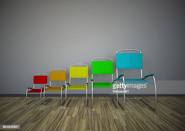 3d illustration, Growing chairs chart