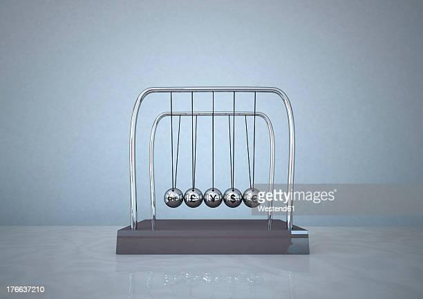 bildbanksillustrationer, clip art samt tecknat material och ikoner med 3d illustration of newton pendulum against blue background - newtons pendel