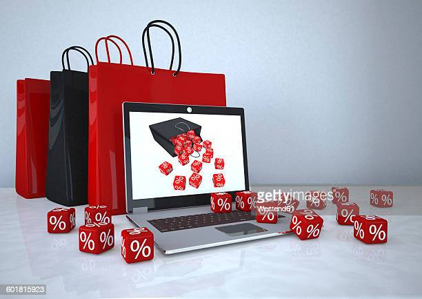 3d illustration, online shopping, notebook with shopping bags and red cubes - consumerism stock illustrations
