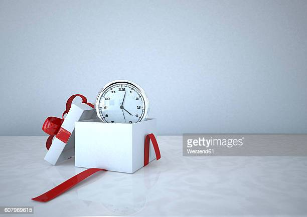 3d illustration, opened gift carton with a clock - time stock illustrations