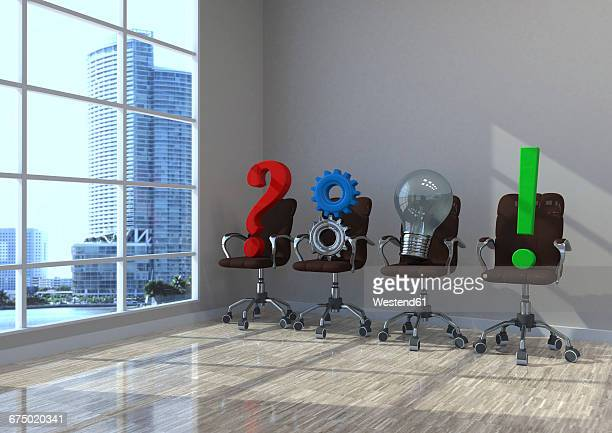 3d illustration, planning concept, swivel chairs with question mark, gears, bulb and exclamation mark in a office - exclamation mark stock illustrations