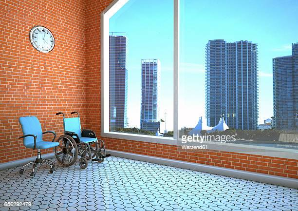3d Illustration, Swivel chair with wheel chair in business room