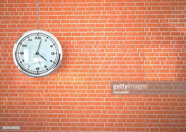 ilustraciones, imágenes clip art, dibujos animados e iconos de stock de 3d illustration, watch on the brick wall - reloj de bolsillo