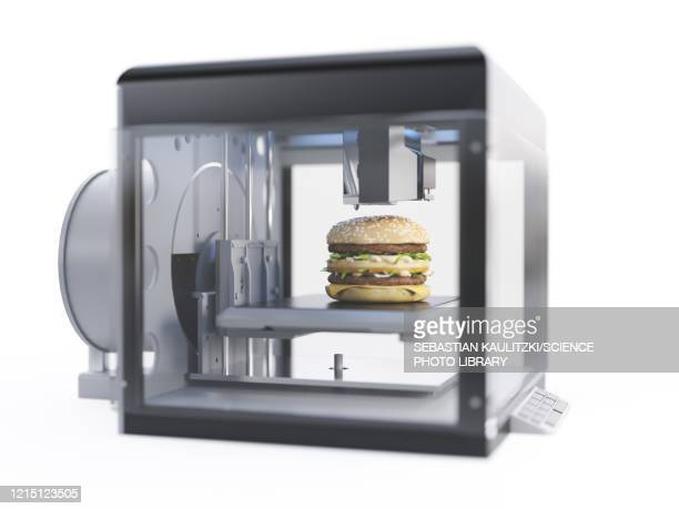3d printer printing a burger, illustration - automated stock illustrations