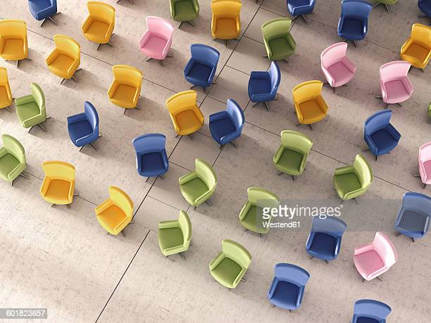 3d rendering, colorful chairs in hall - office stock illustrations
