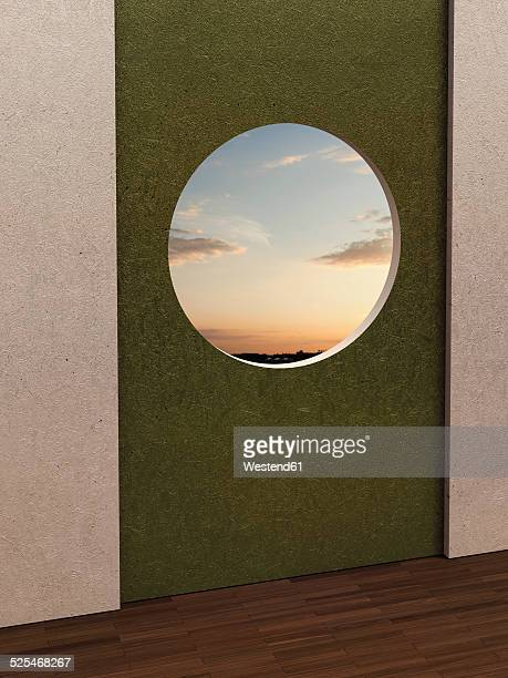 3d Rendering, concrete wall with round window