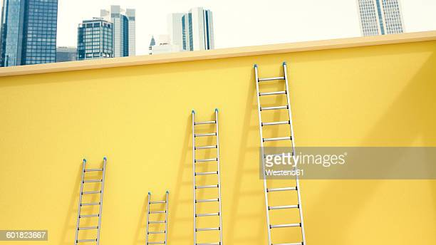 3d Rendering, Ladders leaning on yellow wall in front of skyline