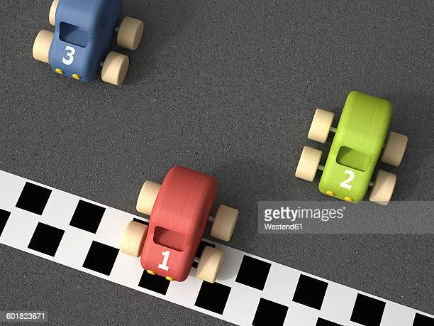 3d Rendering, toy racing cars at finishing line