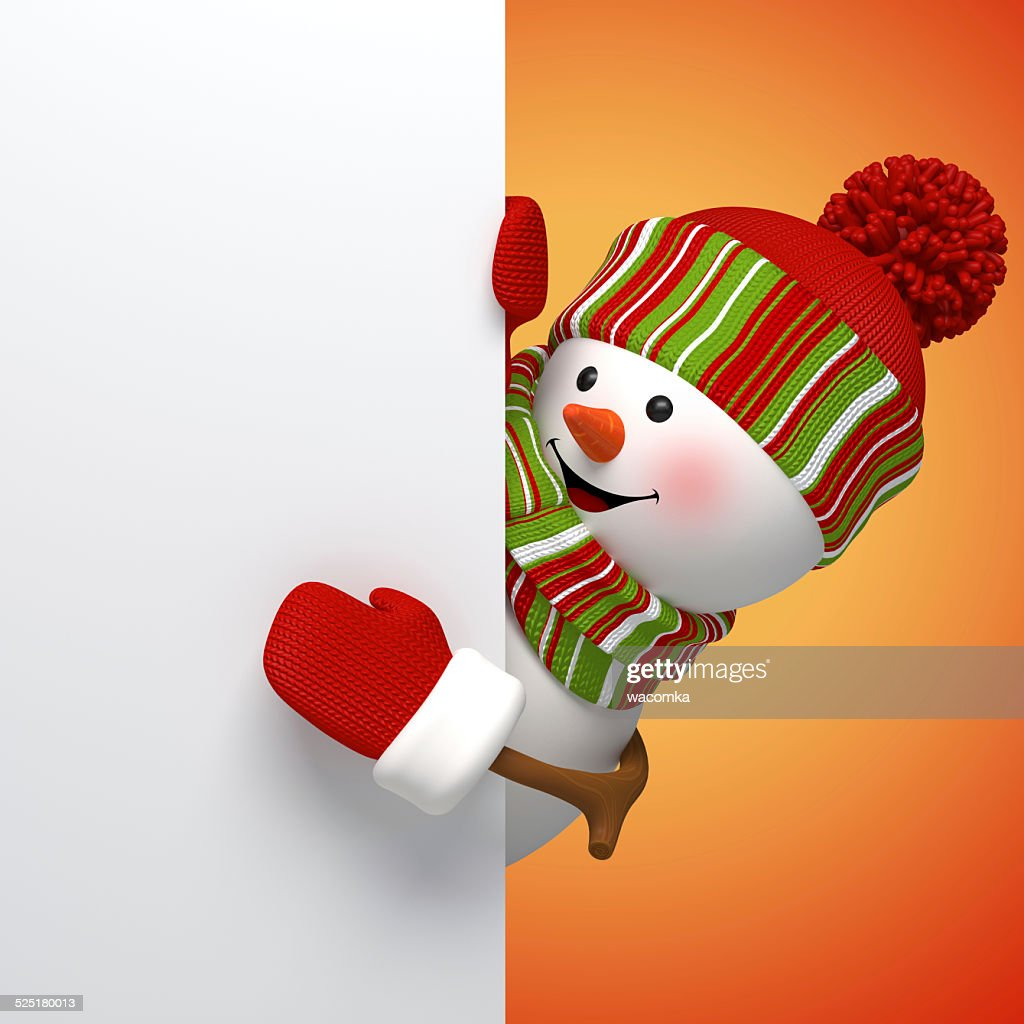 3d snowman banner winter holiday symbol new year card template stock illustration