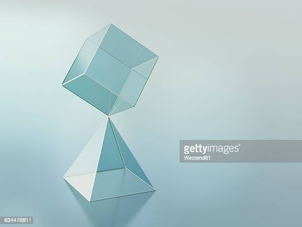 3D-Rendering, cuboid on pyramid