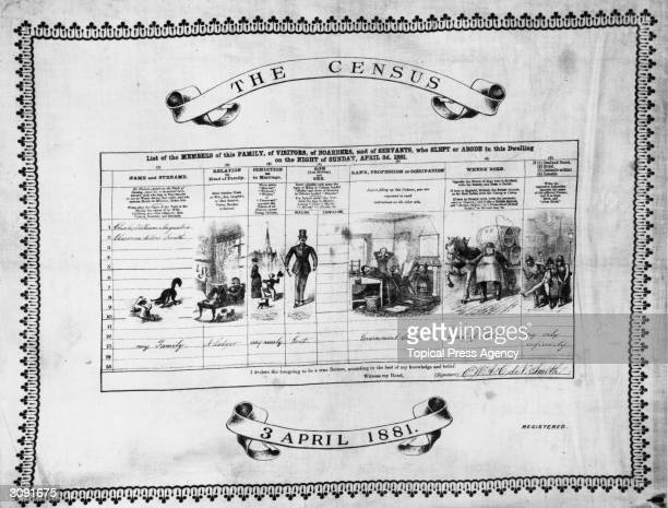 Census form reproduced as a table mat. The columns are illustrated with figures of people in various stages of life.