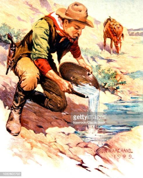 49er GOLD RUSH PROSPECTOR PANNING FOR GOLD CALIFORNIA GOLD RUSH OF 1849 1800s