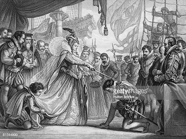 4th April 1581, Queen Elizabeth I of England knights explorer Sir Francis Drake on board his ship, the Golden Hind at Deptford. Drake returned in...