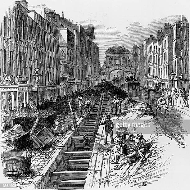 Workmen deepening the sewage system that runs under London's Fleet Street Original Publication Illustrated London News pub 1845
