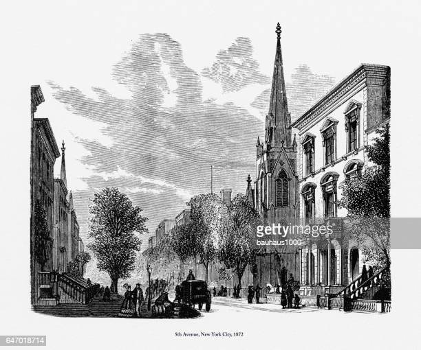 5th Avenue, New York City Victorian Engraving, 1872