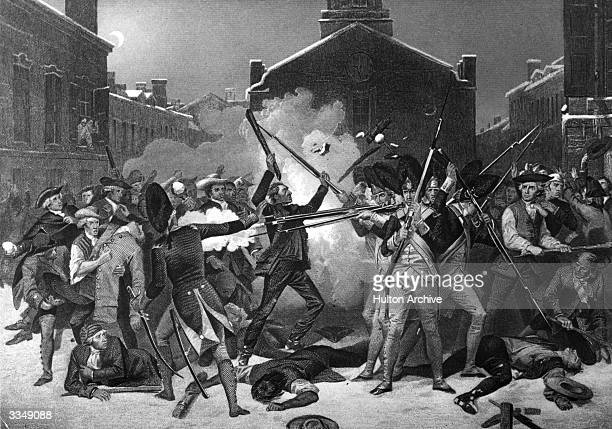 British soldiers open fire on a crowd of Bostonians, killing five people, in what became known as the Boston massacre. The Americans were...