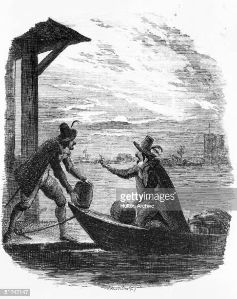 5th November 1605, English conspirator Guy Fawkes transporting gunpowder by boat. Original Artwork: Engraved by George Cruikshank