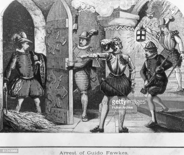 5th November 1605, Soldiers discover conspirator Guy Fawkes attempting to blow up the Houses of Parliament as a protest against anti-Roman Catholic...