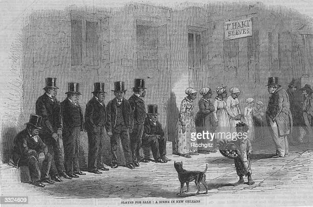 Slaves, dressed in western clothes, being sold in the streets of New Orleans, USA. Original Publication: Illustrated London News - Slavery In America...
