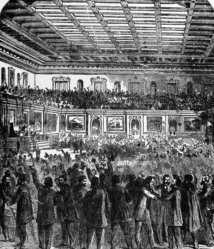 The House of Representatives celebrating the passage of the 13th Amendment to the U.S. Constitution which prohibited slavery.