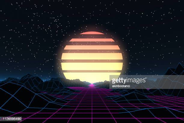 80s retro sci-fi futuristic abstract background - space and astronomy stock illustrations