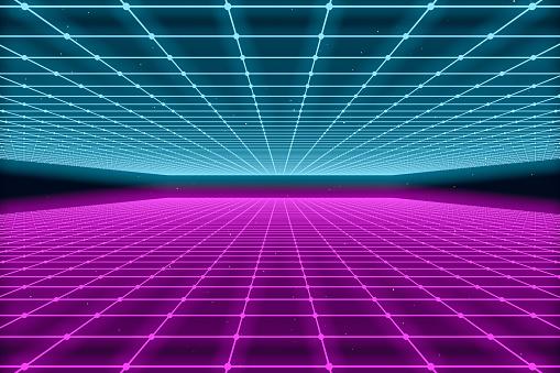 80s Retro Sci-Fi Futuristic Landscape Abstract Background - gettyimageskorea