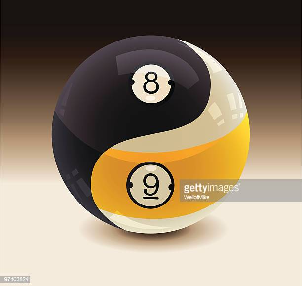 8-ball and 9-ball yin yang - pool ball stock illustrations, clip art, cartoons, & icons
