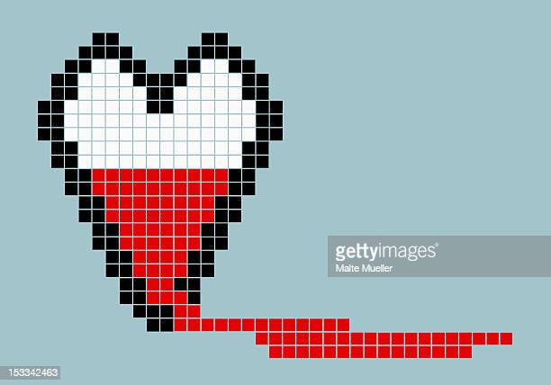 8-bit style bleeding heart - grief stock illustrations