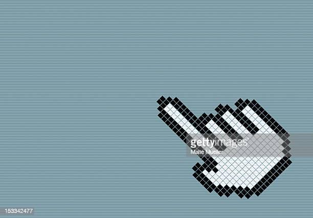 ilustrações, clipart, desenhos animados e ícones de 8-bit style hand cursor - cursor