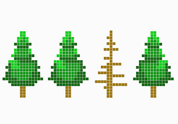 8-bit Style Trees With One Dead Tree Wall Art