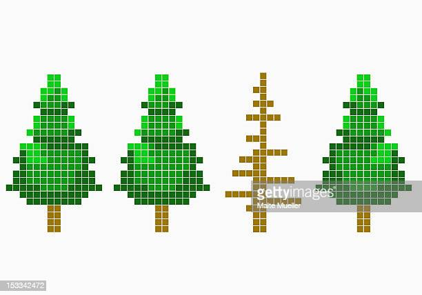 8-bit style trees with one dead tree - four objects stock illustrations